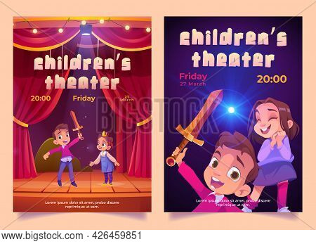 Children Theater Posters With Kids Play Performance On Stage With Red Curtains. Vector Invitation Fl
