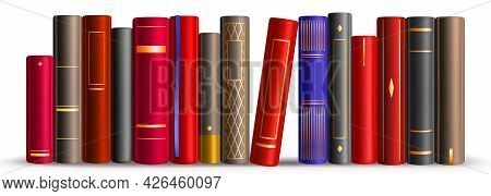 Row Of Books On Shelf In Library, Store, School Or Home. Vector Realistic Illustration Of Literature