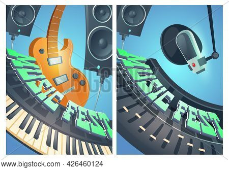 Music Fest Cartoon Posters With Electric Guitar, Synthesizer, Dynamics And Microphone In Recording S