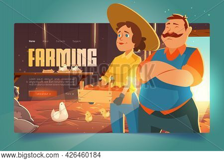 Farmers In Barn Cartoon Landing Page, Ranchers Farm House With Chicken And Vegetable Or Fruit Crop.