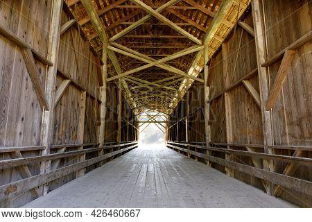 Felton Covered Bridge Crossing The San Lorenzo River. Felton, Santa Cruz County, California.