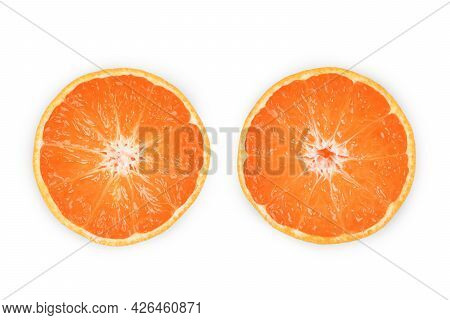 Isolated Orange Fruit. Top View Orange Slice On White Background Full Depth Of Field. Clipping Path.