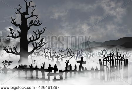Spooky Old Graveyard Inside The White Fog Clouds. Cemetery With Broken Fence, Gates, Woods, Tombs An