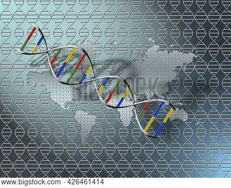 World map and binary code on seamless DNA strand pattern. Digital world DNA. 3D rendering.
