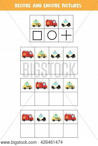 Decode And Encode Pictures. Write The Symbols Under Cute Cartoon Transport.