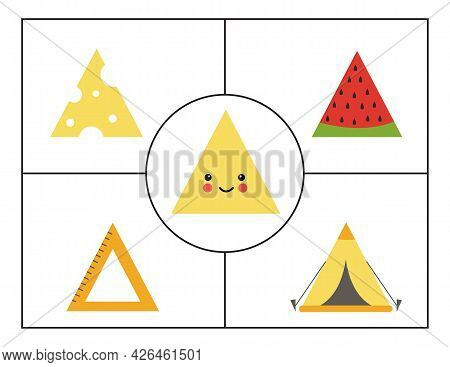 Learning Basic Geometric Forms For Children. Cute Triangle.