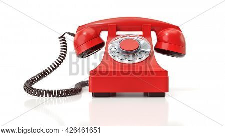 An old red dial-up phone. 3d illustration