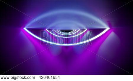 A magenta neon lights art background. 3D illustration