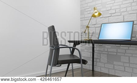 A notebook computer on a desk at home. 3D illustration