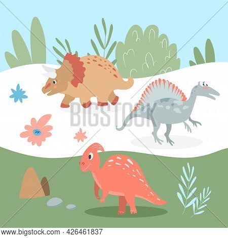 Set Of Cute Carnivorous And Herbivorous Dinosaurs On The Background Of Nature. Vector Illustration I