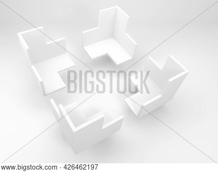 Abstract White Geometric Object In Shape Of Corners Of A Bounding Frame For Products Presentations I