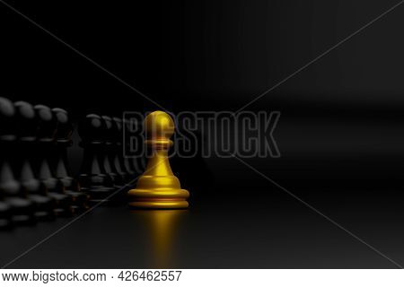 Gold Chess Outstanding Among Group. Leader, Unique, Think Different, Individual And Standing Out Fro