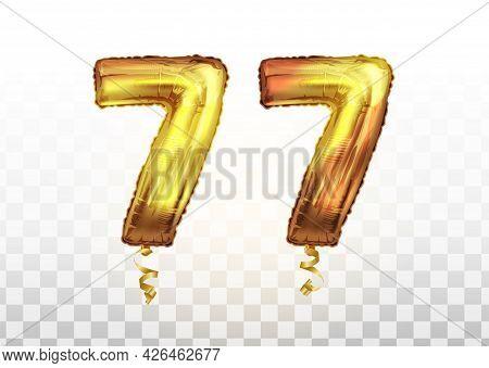 Vector Golden Foil Number 77 Seventy Seven Metallic Balloon. Party Decoration Golden Balloons. Anniv