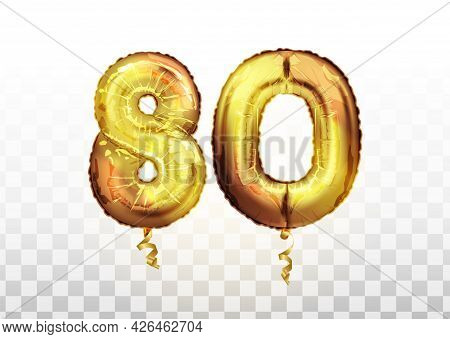 Golden Number 80 Eighty Metallic Balloon. Party Decoration Golden Balloons. Anniversary Sign For Hap