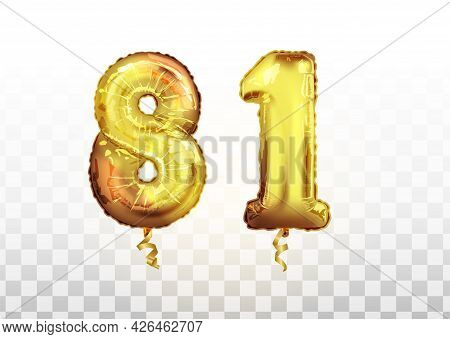 Vector Golden Foil Number 81 Eighty One Metallic Balloon. Party Decoration Golden Balloons. Annivers