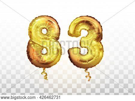 Vector Golden Foil Number 83 Eighty Three Metallic Balloon. Party Decoration Golden Balloons. Annive