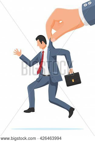 Big Hand Using Businessman For Control. Business Man Marionette Is Hanging On Suit. Hand Of Puppetee