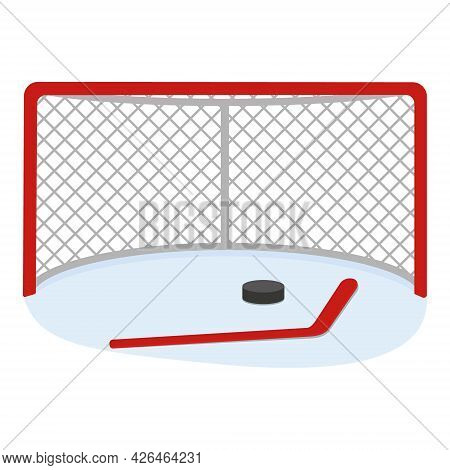 Hockey Goal With A Stick And A Puck, Color Vector Illustration In The Cartoon Style.