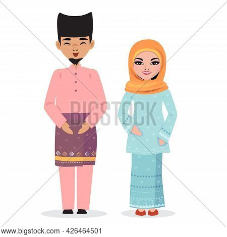 Male And Female In Malaysia Traditional Cloth.