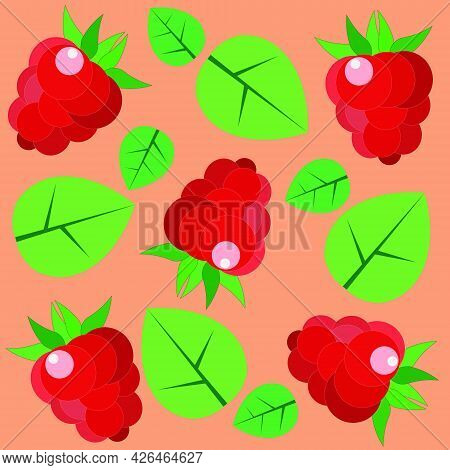 Pattern Of Raspberries On An Orange-pink Background With Green Leaves. Flat Style, Vector.