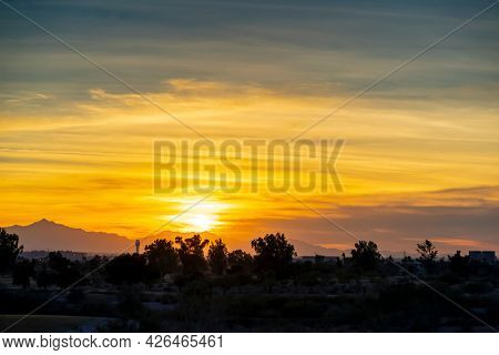 The Phoenix Arizona skyline at sunset near Papago Park