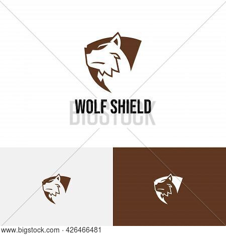 Strong Wolf Shield Business Protection Negative Space Logo