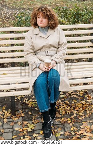 Enjoying Outdoors. Dreamy Girl. Body Positive. Autumn Park. Relaxed Peaceful Overweight Woman With C