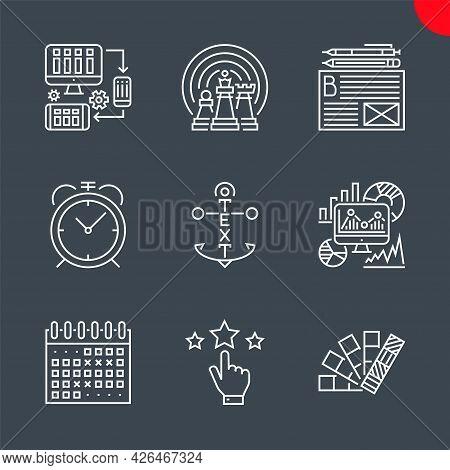 Seo Related Vector Line Icons. Colors, Reputation, Events Calendar, Seo Monitoring, Internet Marketi