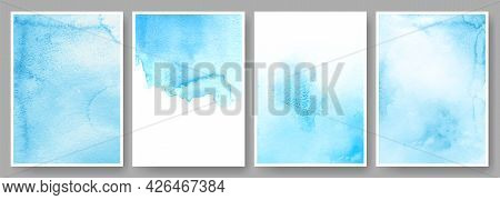 Watercolor Backgrounds. Abstract Poster Or Wedding Invitation Card Template With Blue Ink Stains. Gr