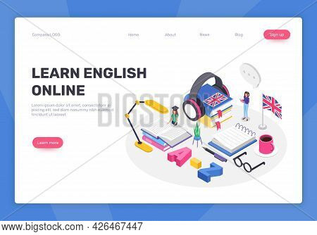 Isometric Learning English Language Concept. People Studying Foreign Languages Online. Digital Cours