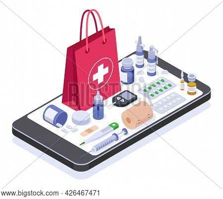 Isometric Online Pharmacy Store. Medicine Product Or Equipment On Smartphone Screen. Buying Medicati