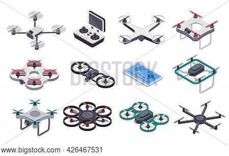 Isometric Drones. Flying Drone With Propellers And Camera, Radio Controller. Remote Controlled Unman