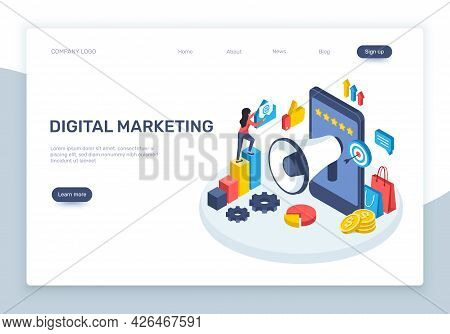 Isometric Digital Marketing. Social Media Advertising Concept With Speaker, Smartphone, Graphs. Onli