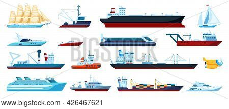 Flat Sea Transports. Speed Boats, Yachts, Cruise, Fishing Ships, Submarine. Cargo Ship With Shipping