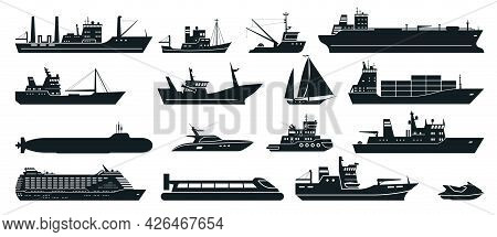 Ships Silhouette. Cargo Ship With Shipping Containers, Tourist Cruise Ship, Commercial Fishing Vesse