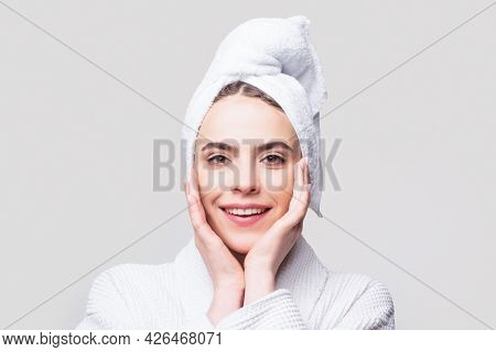 Beauty Concept, Beauty Portrait Of Young Woman With Cream On Cheek. Portrait View Of Naturally Beaut