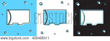 Set Micro Sd Memory Card Icon Isolated On Blue And White, Black Background. Vector