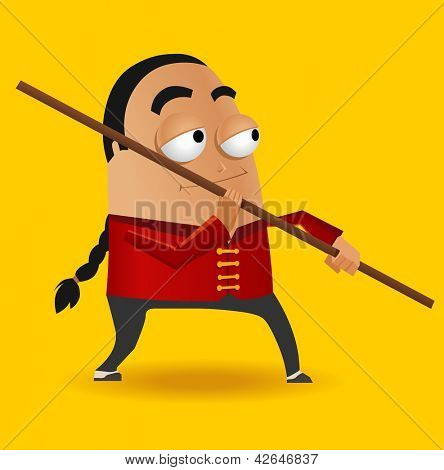 Red Kungfu Master. Vector illustration