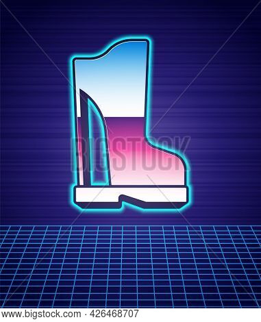 Retro Style Waterproof Rubber Boot Icon Isolated Futuristic Landscape Background. Gumboots For Rainy