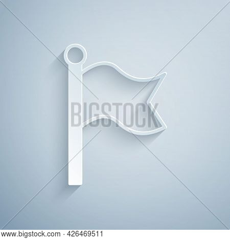 Paper Cut Flag Icon Isolated On Grey Background. Victory, Winning And Conquer Adversity Concept. Pap