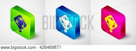 Isometric Roundabout Traffic Icon Isolated On Grey Background. Traffic Circle Road Sign. Square Butt