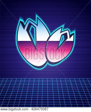 Retro Style Pistachio Nuts Icon Isolated Futuristic Landscape Background. 80s Fashion Party. Vector