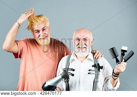 Man Visiting Hairstylist In Barber Shop. Barber With Scissors And Razor, Barbershop. Beard Man, Bear