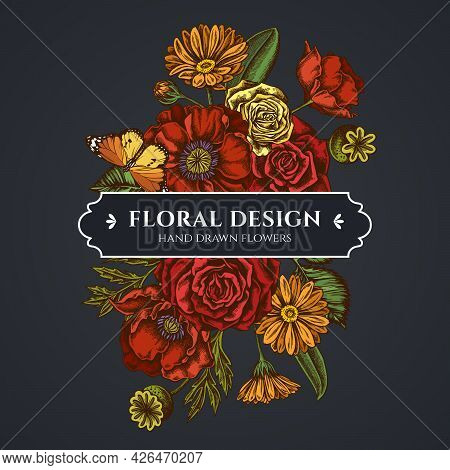 Floral Bouquet Dark Design With Poppy Flower, Calendula, Plain Tiger, Roses Stock Illustration