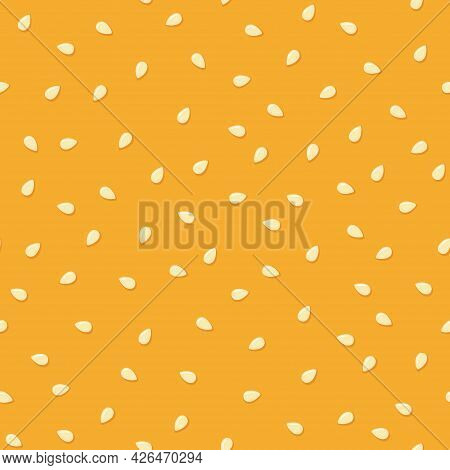 White Sesame Seeds On A Bun. Seamless Pattern. Top Burger With Sesame Seeds. Vector Illustration On