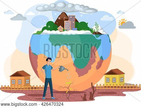 Climate Change And Danger For Ecology. Save Nature, Stop Pollution Concept. Man Watering Withered Pl
