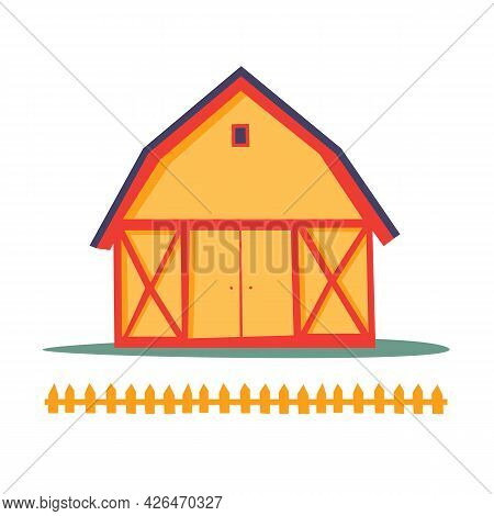 Red Farm Shed. A Rustic Building In A Funny Cartoon Style. Template For Use In Children`s Design, Te