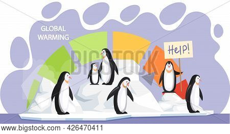 Penguins Are Very Sad About Melting Glaciers. Animals During Global Warming Concept. Polar Birds Ask