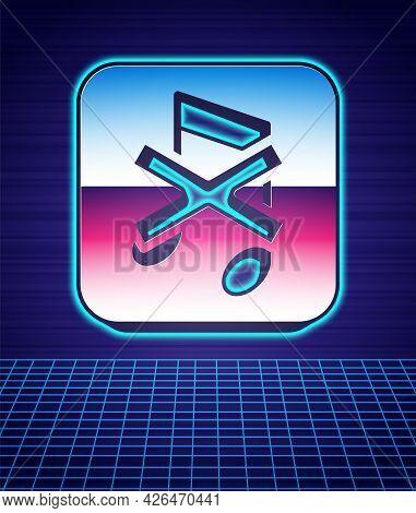 Retro Style Speaker Mute Icon Isolated Futuristic Landscape Background. No Sound Icon. Volume Off Sy