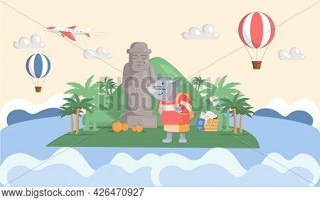 Trip In Beautiful Green Park Travel Concept And Adventure Tourism. Cartoon Traveler Standing Near St